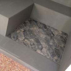 pavimento in cementine di recupero in loco